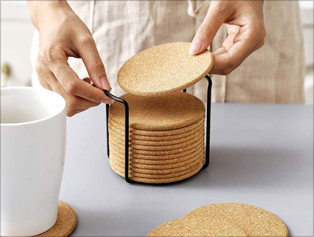 Natural-Cork-Coaster-with-Holder