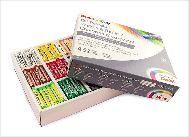 Pentel-Arts-Oil-Pastels,-432-Piece-Classroom-Size-Pack