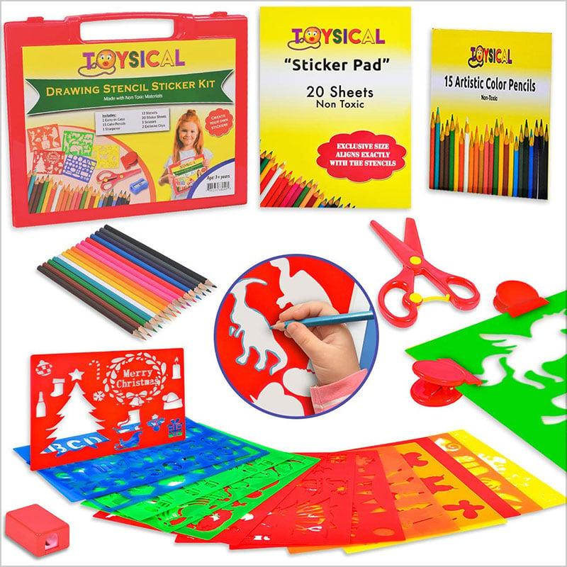 Toysical-Kids-Stencils-Sticker-Set-for-Girls-&-Boys