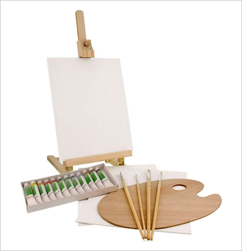 US-Art-Supply-21-Piece-Wood-Studio-Table-Easel-&-Paint-Box-Set
