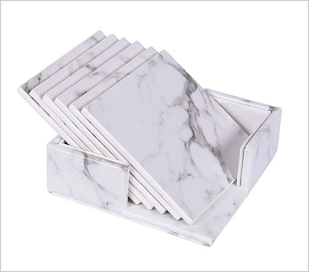 white-marble-leather-coasters-set