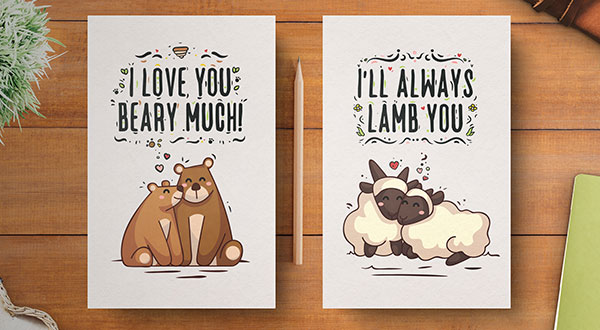 Free Hand Drawn Cute Valentine's Day Card Designs for 2019