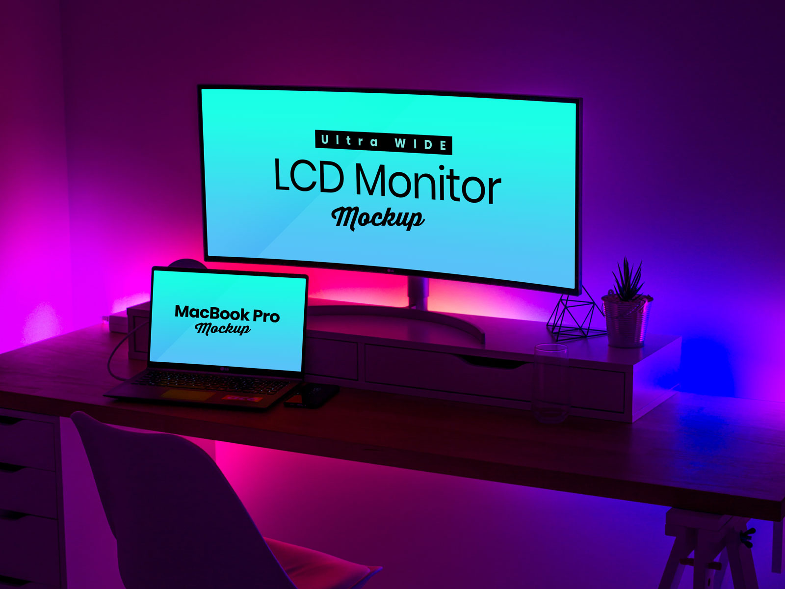 Free Ultra Wide Screen Lcd Monitor Amp Macbook Pro Mockup Psd