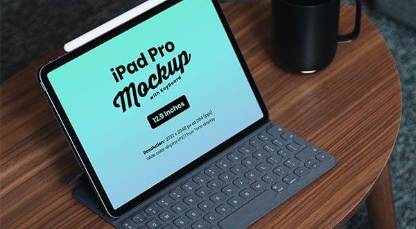 Free iPad Pro 2018 Mockup PSD with Keyboard | 12.9 Inches