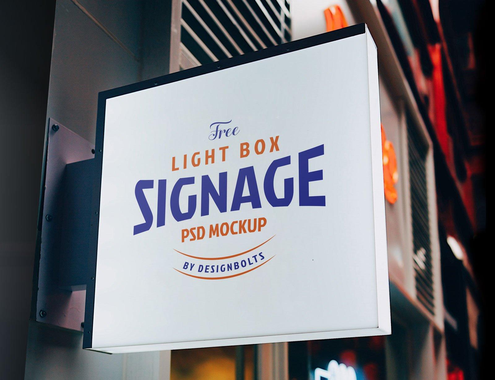 Free Light Box Signage Board Mockup Psd Designbolts