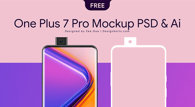 Free One Plus 7 Pro Mockup PSD & Ai