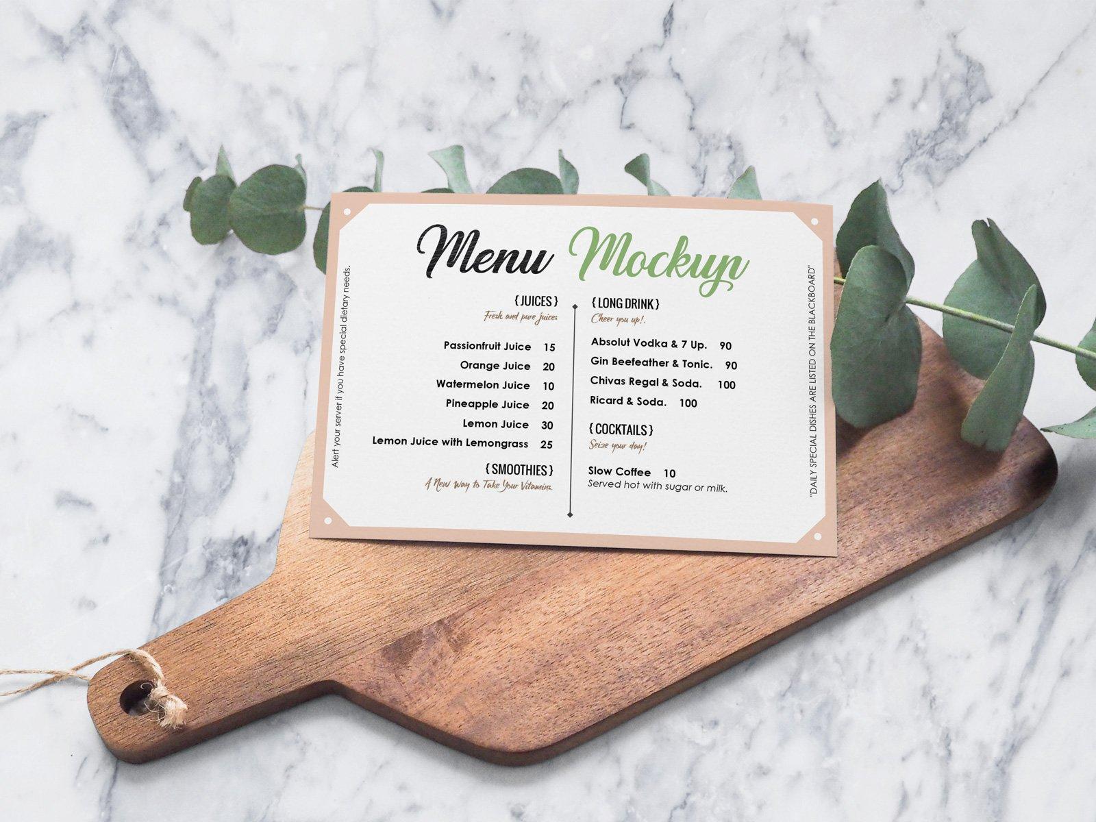Free Landscape Hotel Restaurant Menu Card Mockup Psd Designbolts