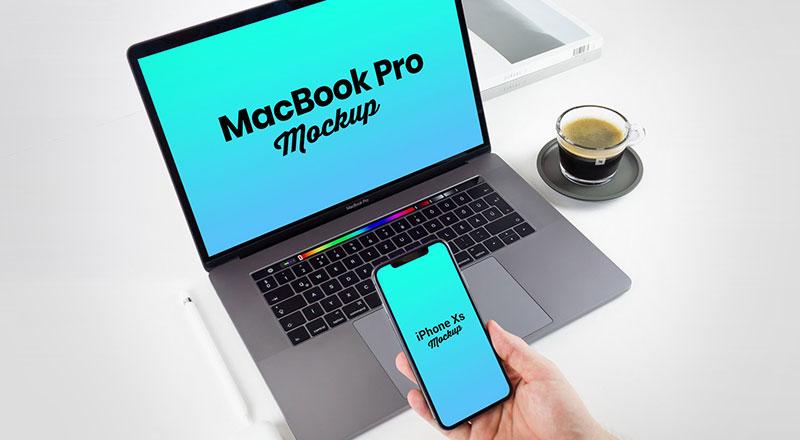 Free iPhone XS & MacBook Pro 2018 Mockup PSD