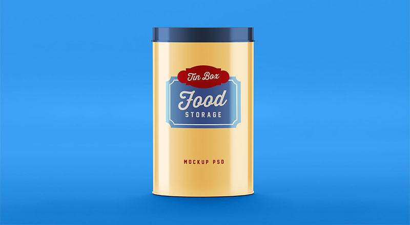 Free Food Storage Tin Can Mockup PSD
