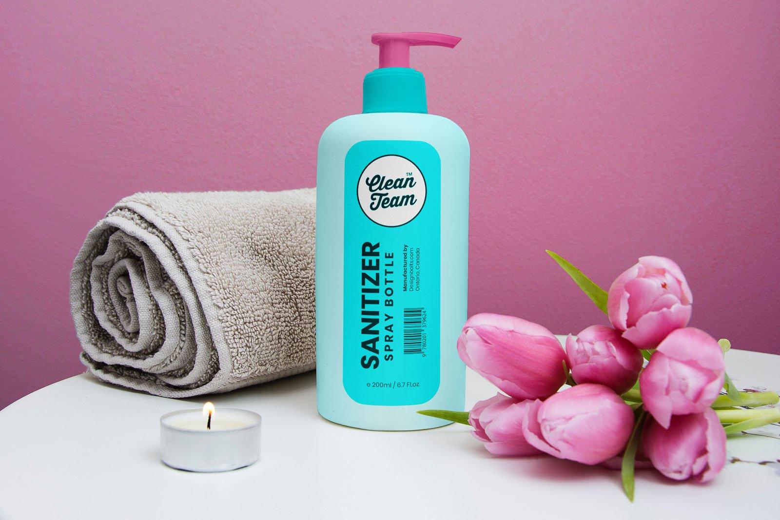 Free Hand Sanitizer Spray Bottle Mockup Psd Designbolts