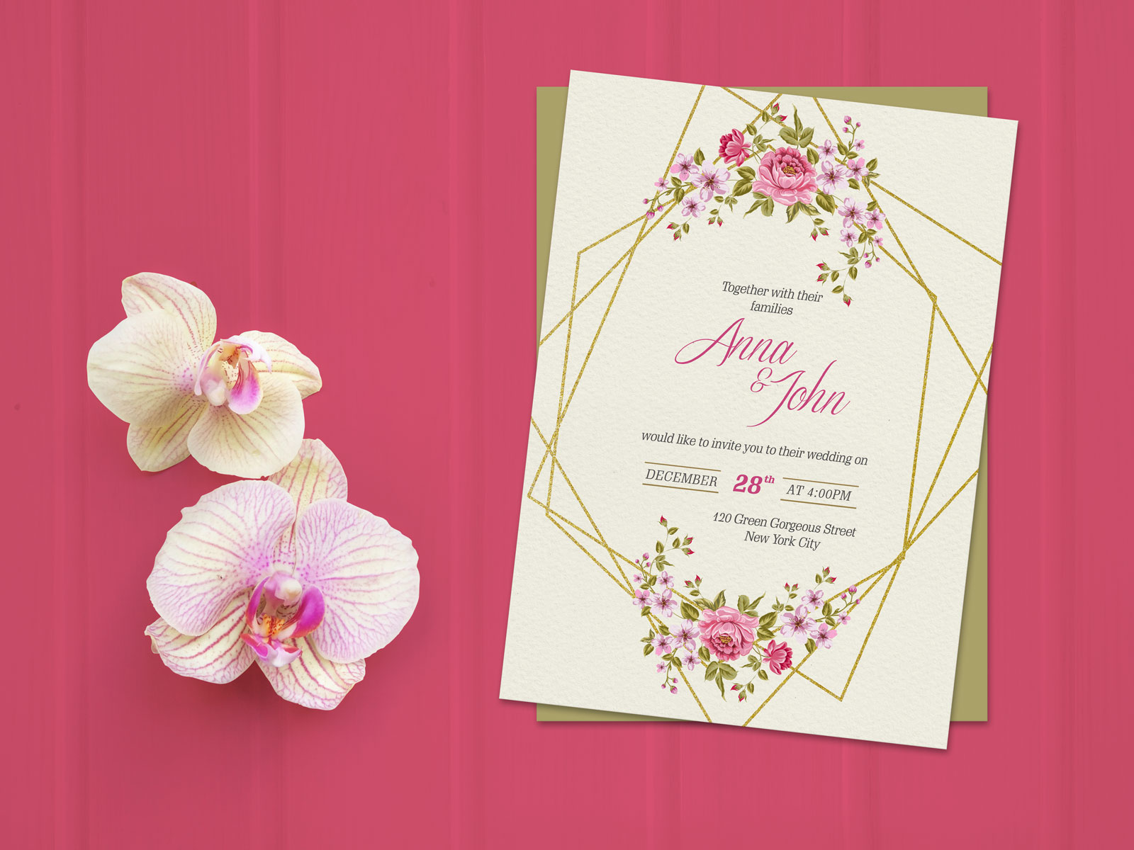free wedding invitation card template  u0026 mockup psd