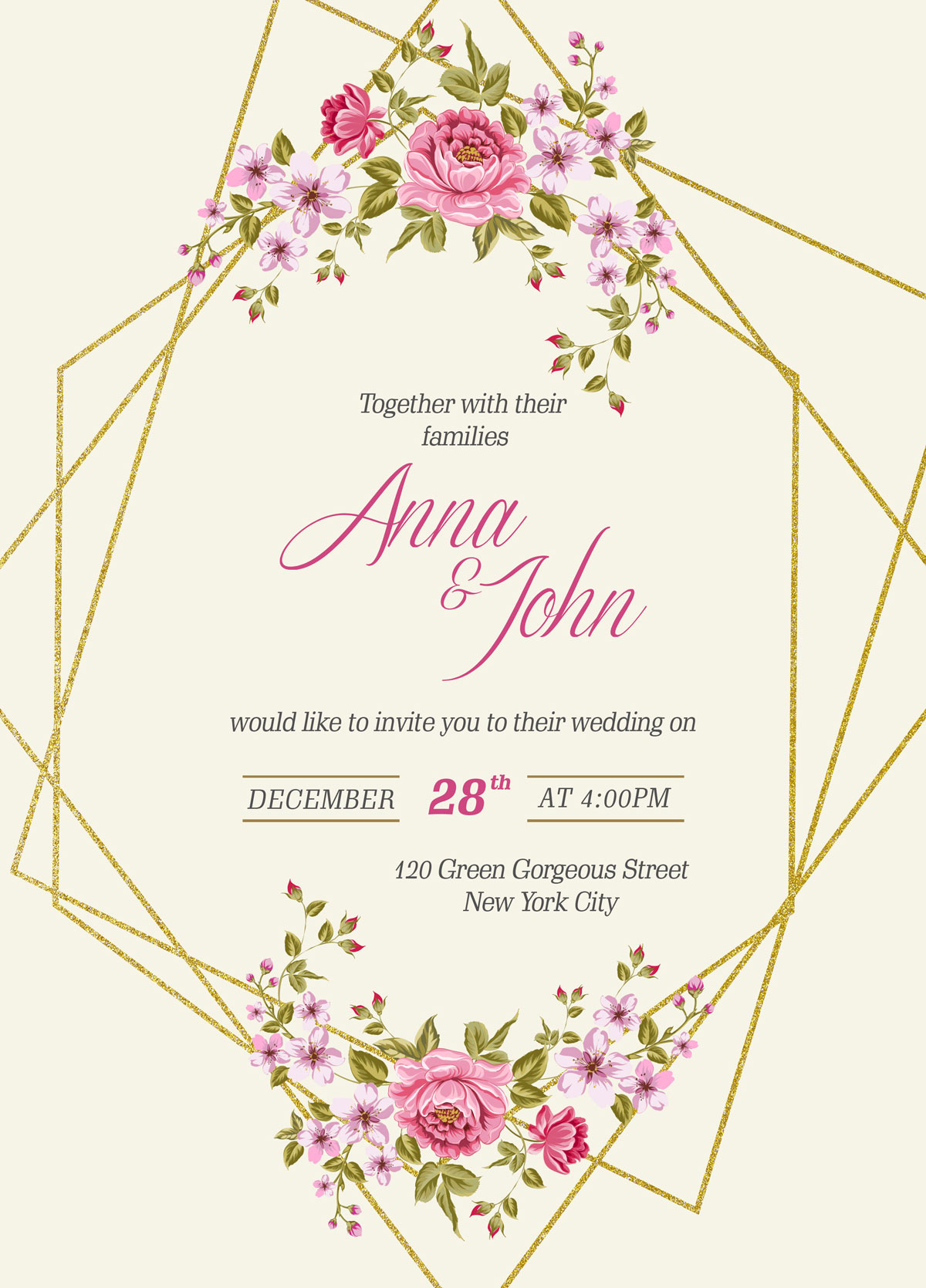 free wedding invitation card template  u0026 mockup psd