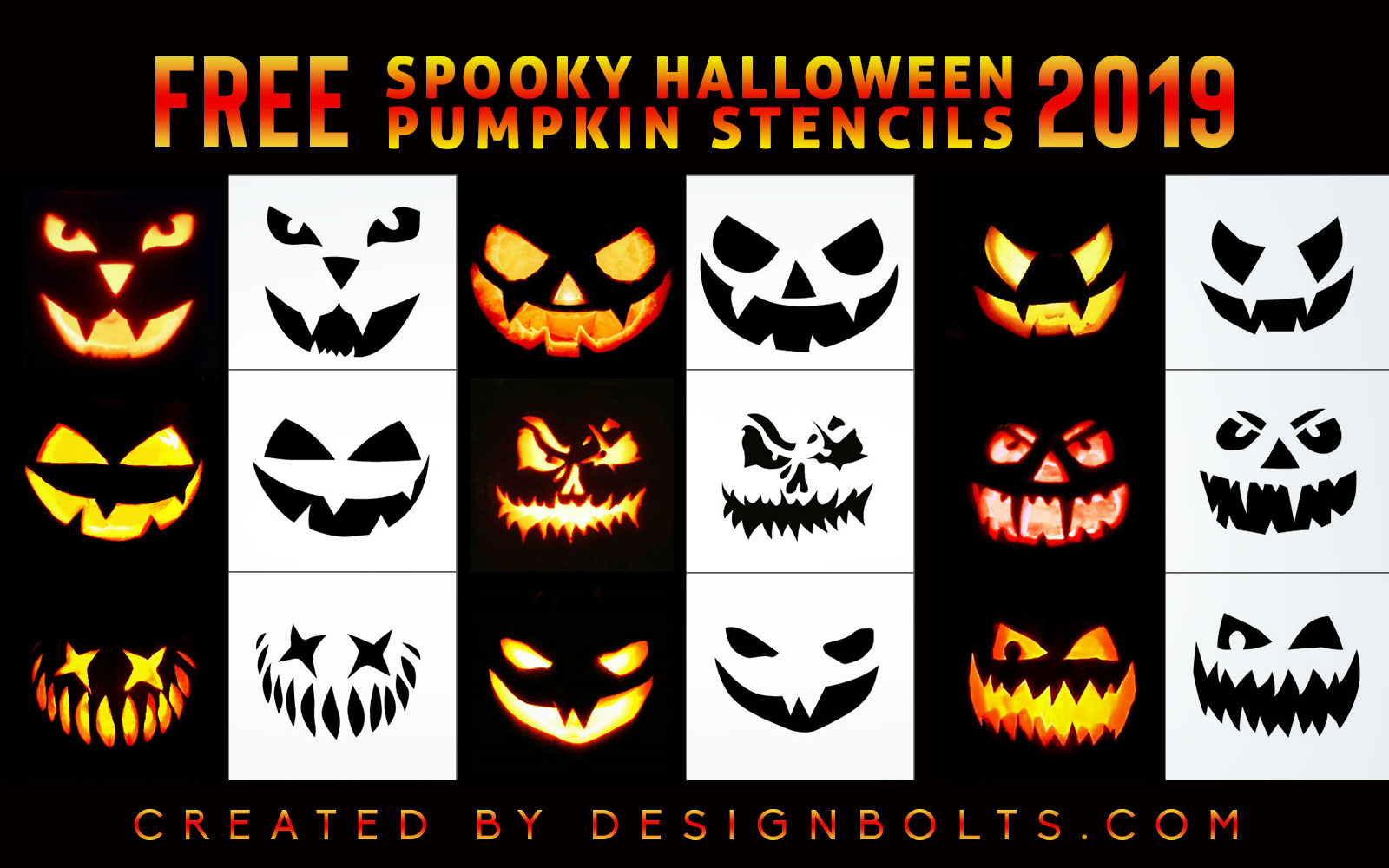 10 Free Spooky Yet Scary Halloween Pumpkin Carving Stencils Patterns Ideas 2019 Designbolts