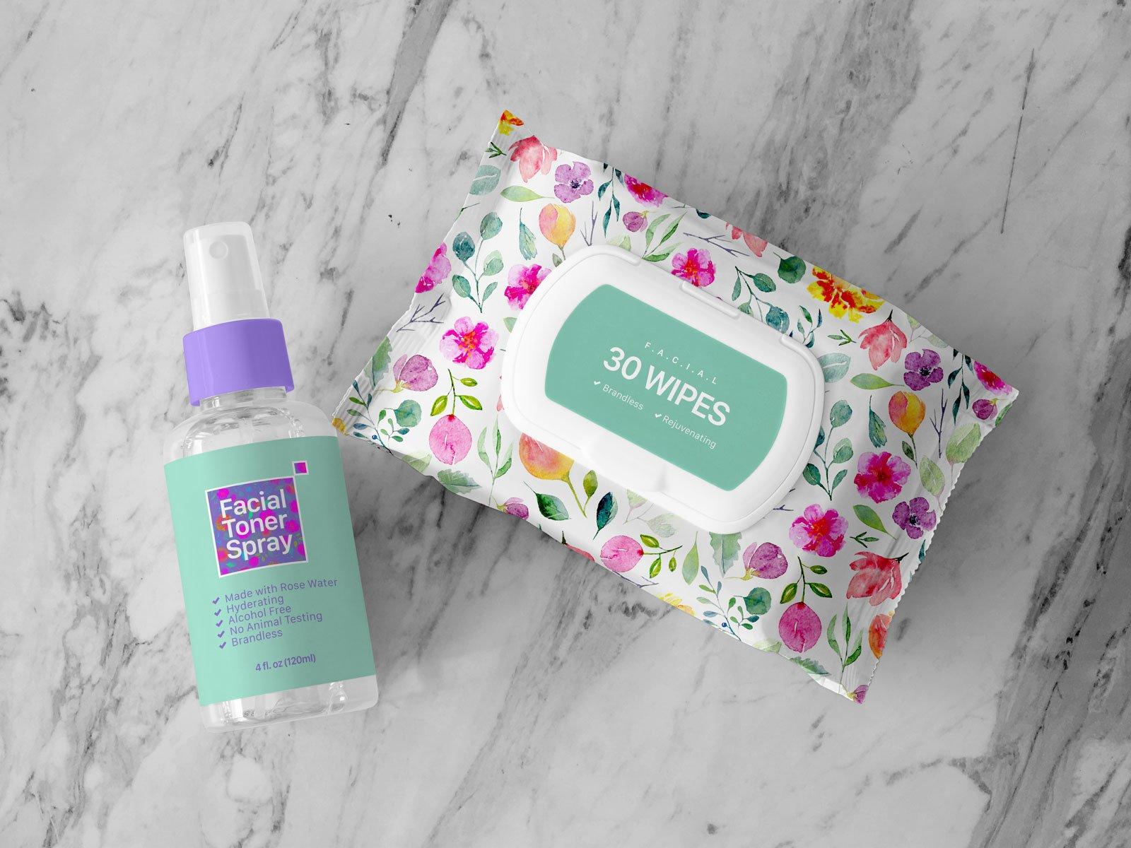 Free Facial Wipes Toner Spray Bottle Mockup Psd Designbolts