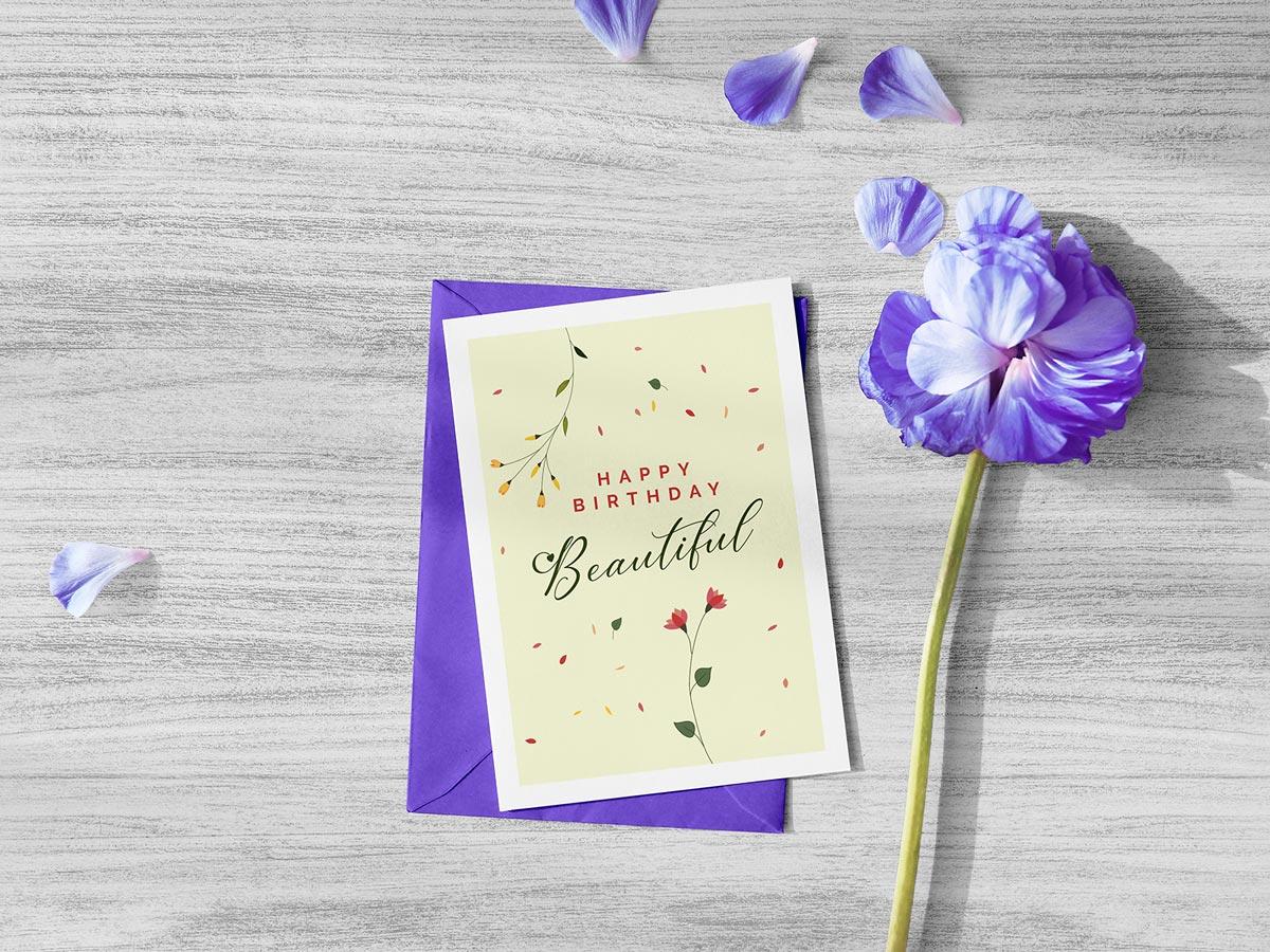 free beautiful happy birthday greeting card design