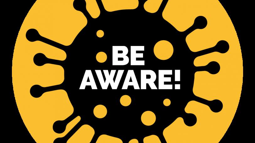 Be Aware from Coronavirus Sign, Symbol, Badge, Icon & Sticker Printable Free Vector
