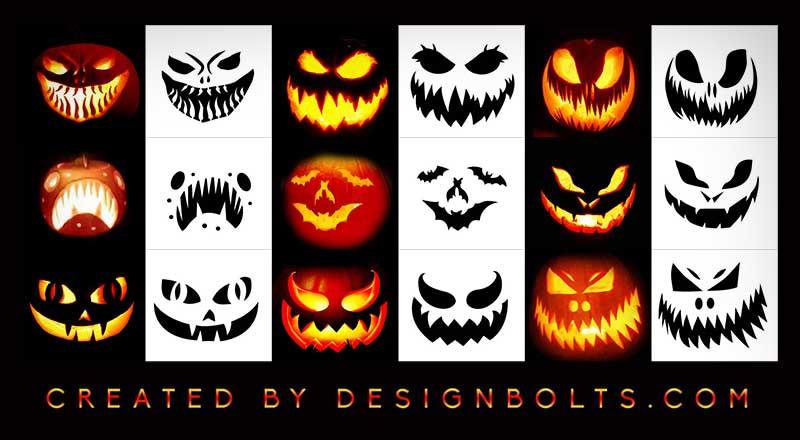 Designbolts 10 Free Scary Halloween Pumpkin Carving Stencils 2020 10 Free Scary Halloween Pumpkin Carving Stencils, Printable