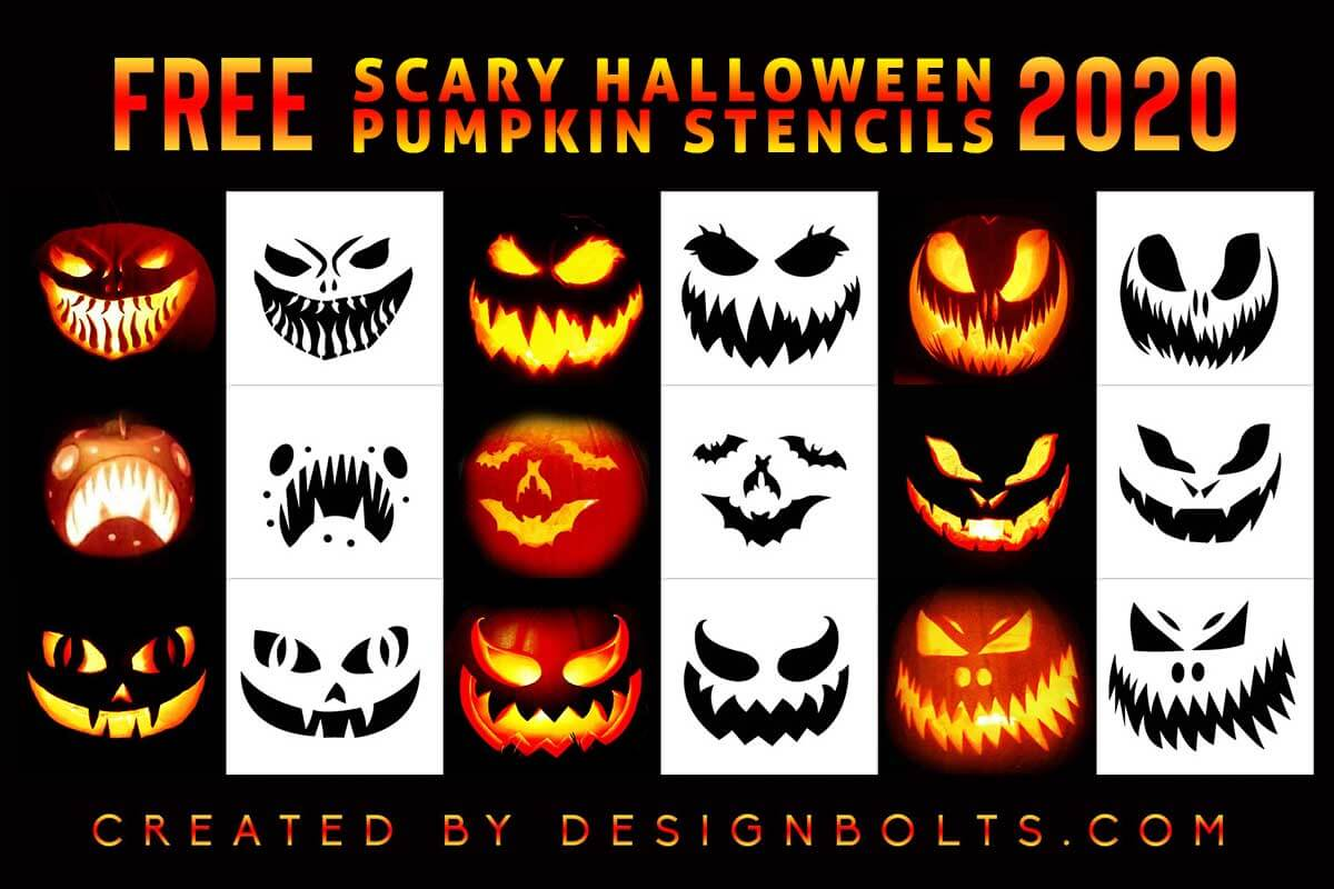 10 Free Scary Halloween Pumpkin Carving Stencils Printable Patterns Ideas 2020 Designbolts