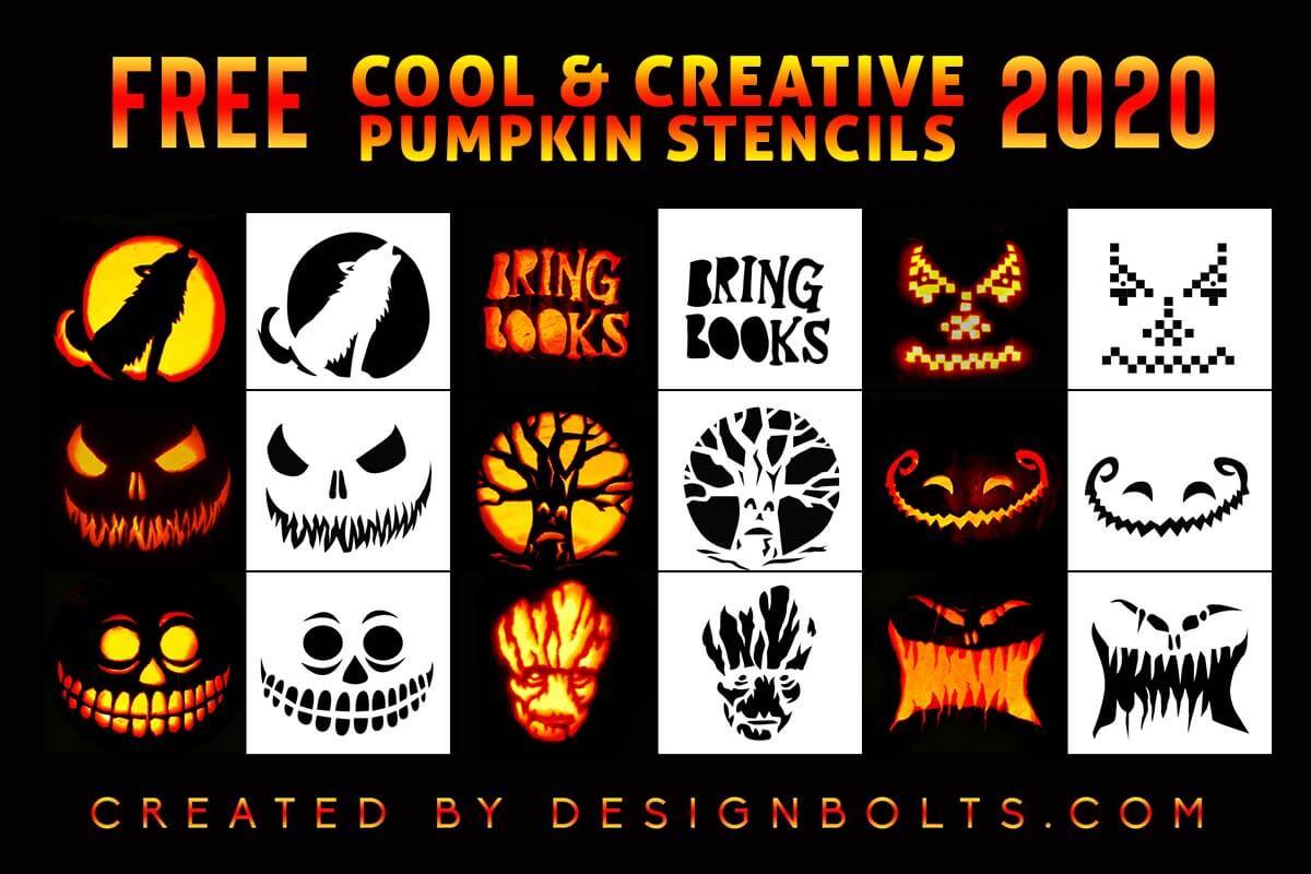 Designbolts 10 Free Scary Halloween Pumpkin Carving Stencils 2020 10 Free New Cool & Scary Halloween Pumpkin Carving Stencils